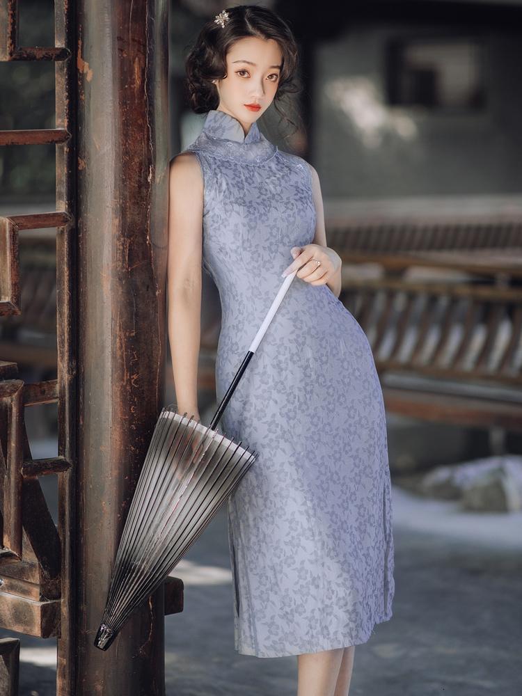 Весна, одетая в лето ретро печать китайская девушка Cheongsam платье женское подол поделиться с высоким талию платья T7291 FV4H