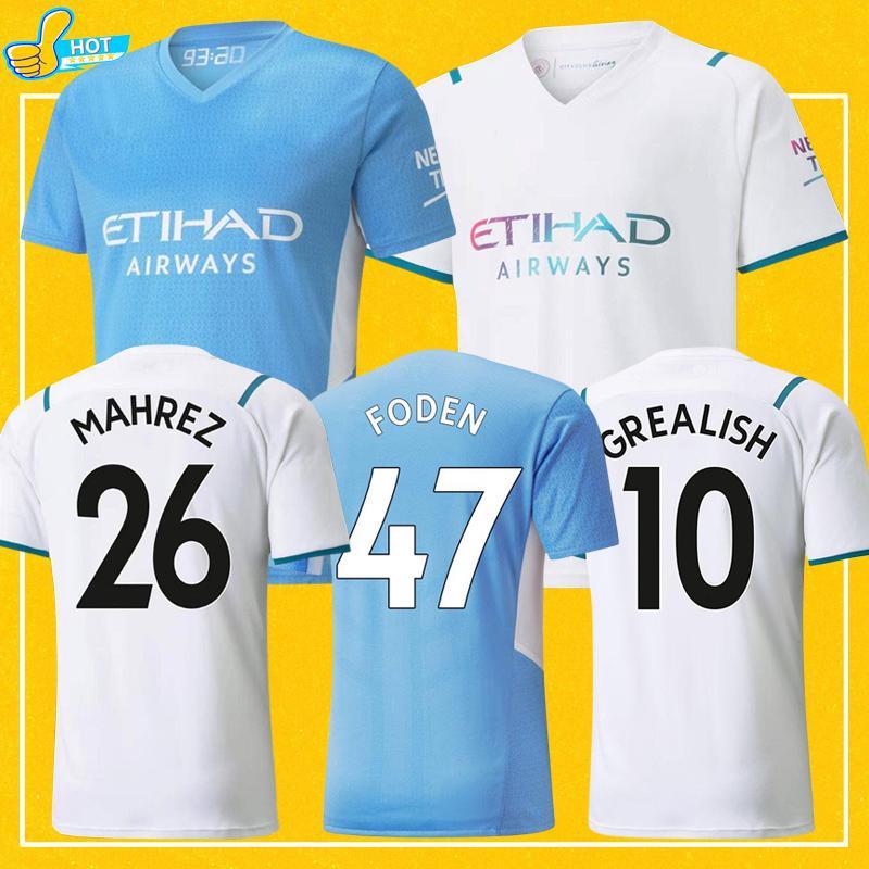 Manchester Soccer Jersey 2021 2022 De Bruyne City Foden Mahrez Ferran Sterling 21 22 الصفحة الرئيسية Third Third Football Shirt Man + Kids Kit