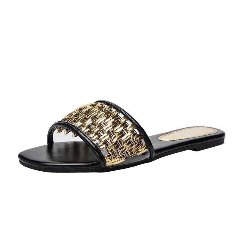 Zarif Kadın Terlik Altın PU Deri Dokuma Sandalet Flats Katlar Artı Boyutu 42 Plaj Slayt Moda Çevirme Zapatos De Mujer