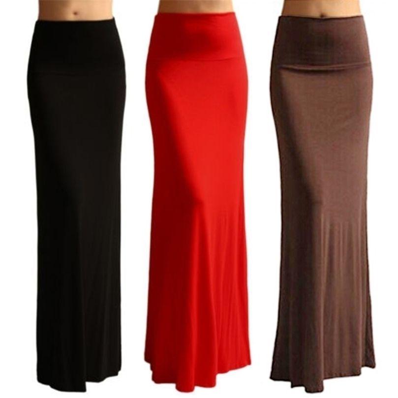 Kadınlar Yüksek Bel Flare Fishtail Maxi Uzun Etek Lady Katı Renk Pileli Paket Kalça Akşam Plaj Partisi A-Line Kalem 210729