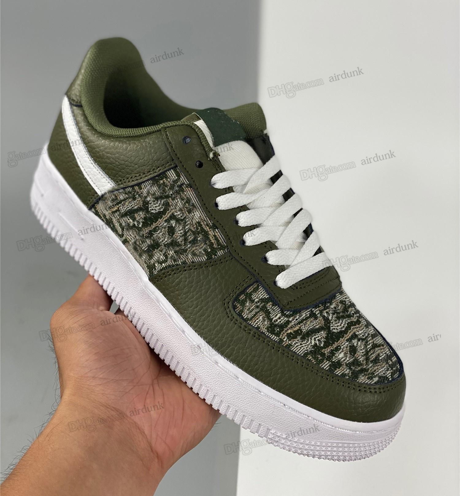 high-quality 1.1 genuine leather green shoe Men Women Airforce Force 1 Low Cut One 1s Casual shoes White Black Dunk Sports Skateboard Classic Trainers High Sneakers DO