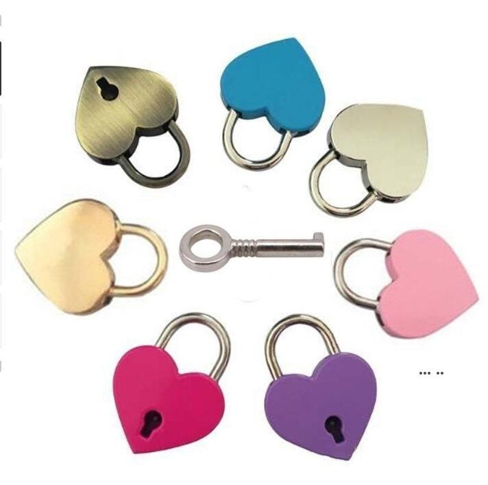 Cerradura de corazón estilo vintage mini aleación amor candado arcaize melocotón corazón bloqueo de viaje bolso maleta cuaderno papelería candado EWC6675