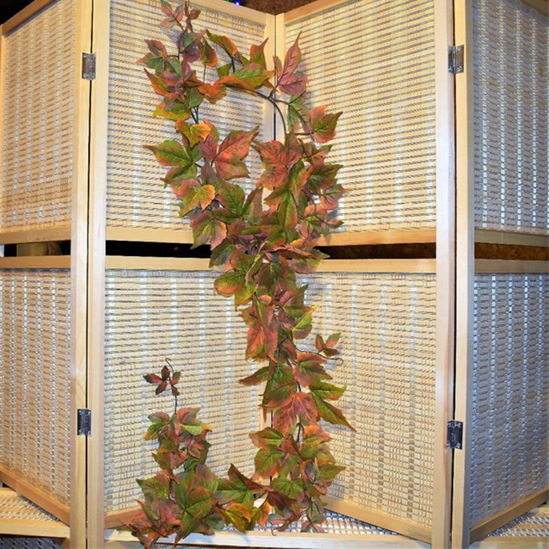 180 см искусственных поддельных зеленых растений виноградные лозы Желтый клен осень осень осень листья дерево ротанга стена висит гирлянда садовое украшение дома