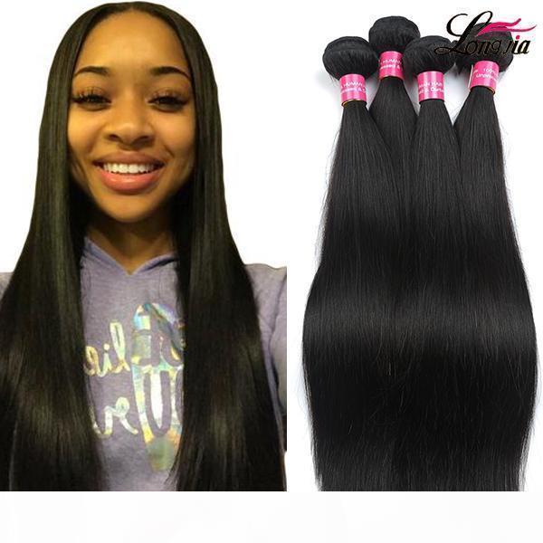 Бразильские прямые волосы 3 или 4 связки необработанные бразильские девственницы человеческие волосы плетения 100% бразильские наращивания человеческих волос оптом