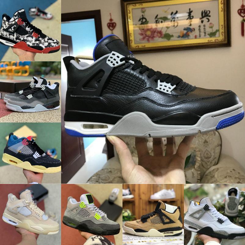 2021 Yüksek 4 4 S Basketbol Ayakkabıları Erkek Kadınlar Yeni Union La Noir Guava Buz Yelken SP WMNS SE Neon 95 Saf Para Beyaz Çimento Korku Paketi Spor Ayakkabı