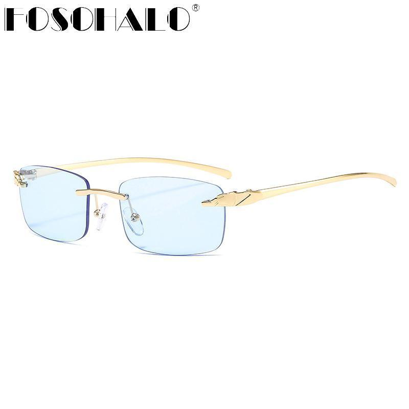 Солнцезащитные очки 2021 Женщины RImless Brand Дизайнер Ретро Солнцезащитные Очки Старинные SteamPunk Женские Леди Прямоугольник UV400