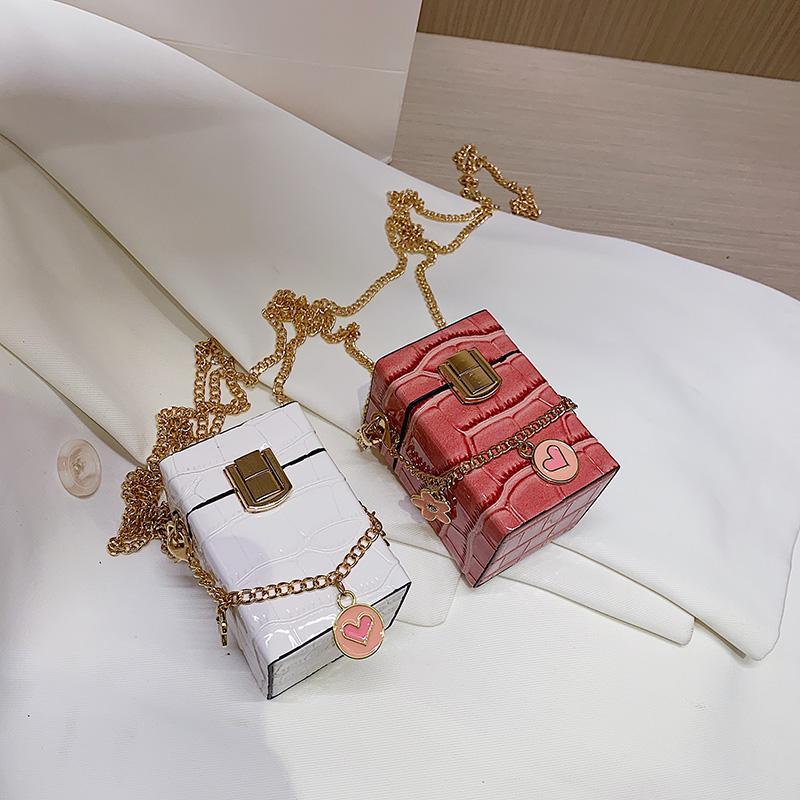 Padrão Mini Stone Box Bag 2021 Nova Alta Qualidade PU Couro Mulheres Designer de Bolsa de Bolsa de Ombro Mensageiro Batick