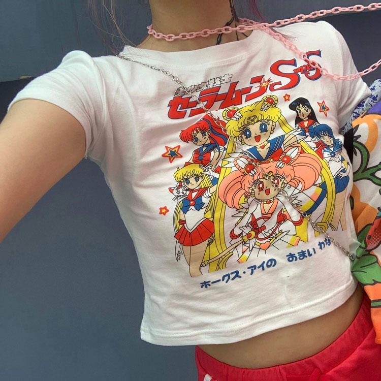 Sailor Moon Print Harajuku Goth Mujeres Mujeres Camisetas Kawaii Corto Anime T Shirt Hiphop Verano Mujer Streetwear Crop Tops Y2K NVTX37002