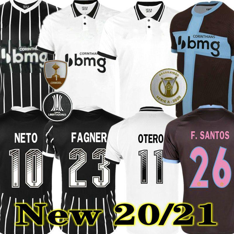 Corinthians Senna Rodriguinho 20 21 Jo Jadson Jersey Soccer 3. Home Weiß 2020 2021 Ronaldo Korinthers Kazim Away Black Club Football Hemd