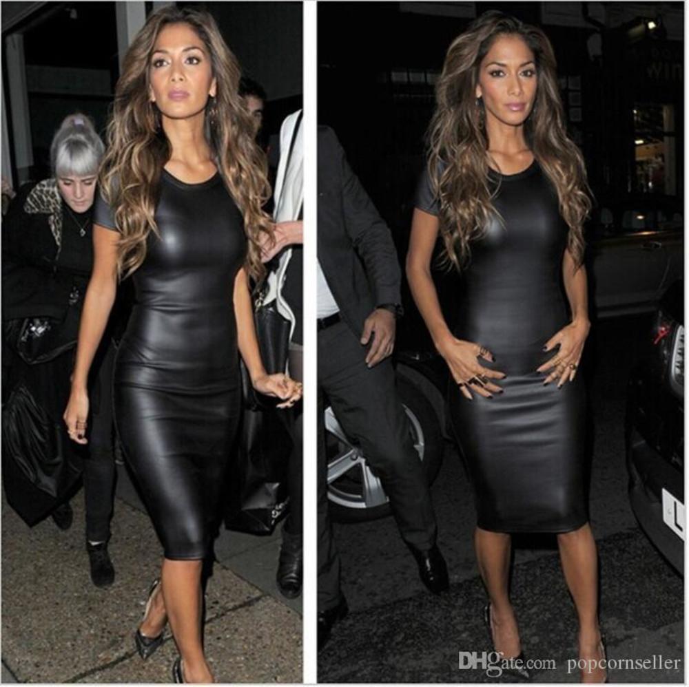 Vestido de ropa de diseñador para mujer Verano Negro 20SS Diseño de cuero falso Bodycon Vestidos Casual Labios Otoño Ropa de otoño