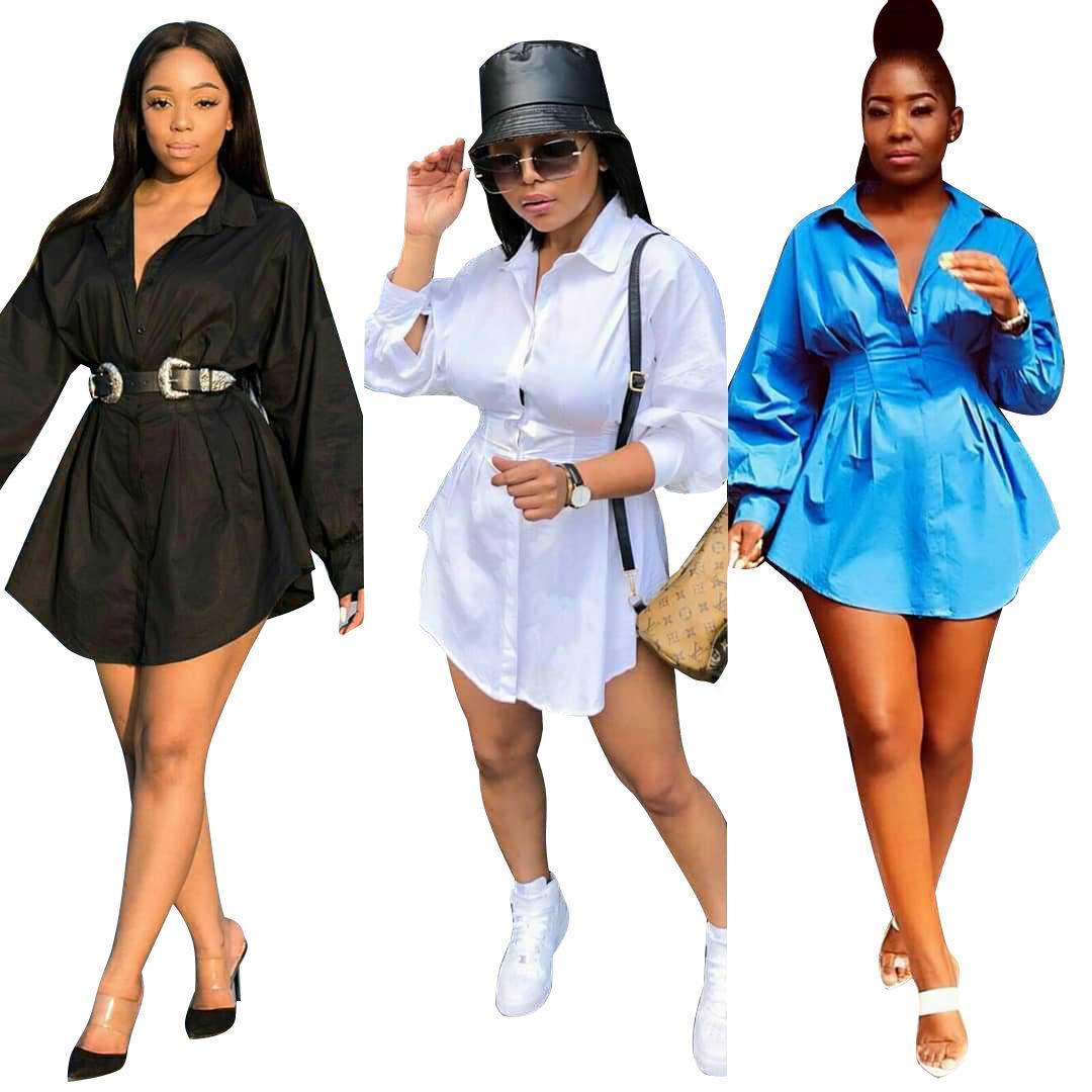 Kleid langes Ärmel Solide Farbe Frauen Hemd Kleider Slim Mode Lässige Weibliche Kleidung Womens Luxus Designer