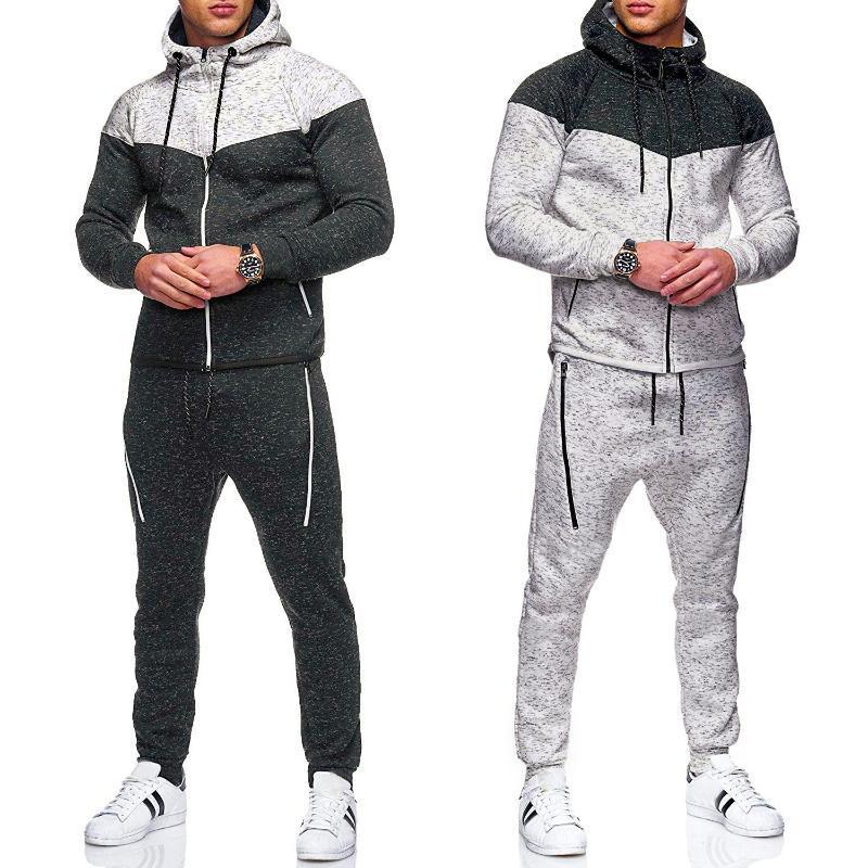 Erkek Eşofmanlar 2021 Antumn Hoodie Eşofman Tişörtü Erkek Rahat 2 Parça Sportsuit Fermuar Ceket Pantolon Spor Erkekler Set Marka Giyim