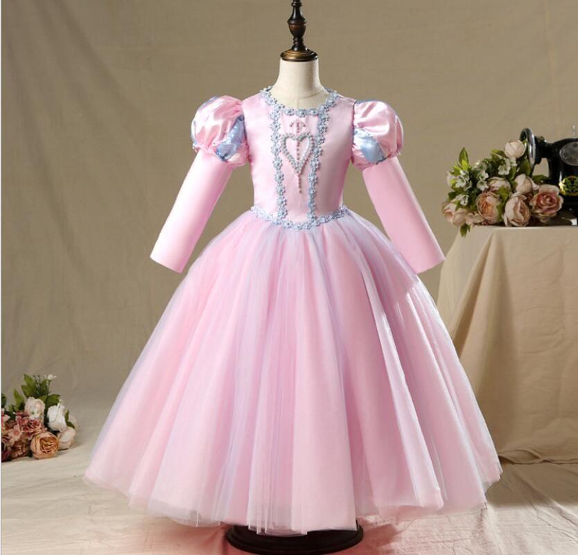 10 Stilleri Kız Prenses Elbiseler Çocuk Butik Zarif Giyim Düğün Kızlar Zarif Elbise Boyutu 90-17-cm Doğum Günü Hediyesi