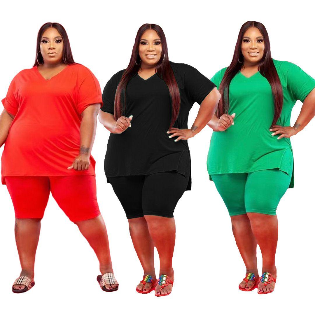 Neue Mode Frauen Sommer Beliebte V-Ausschnitt Große Größe 5x Solide Farbe Freizeit Zwei Teil Sets Kurzarm Shorts Set Lose Sommerkleidung