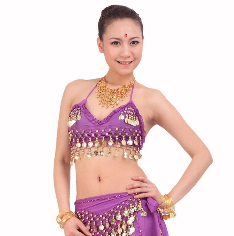 Nuovo 2021 Donne sexy Belly Dancing Bra Nastelli Bra Brey Dance Suit Hit Colors Stage Show Abbigliamento Abbigliamento Tribal Dance Top Coin