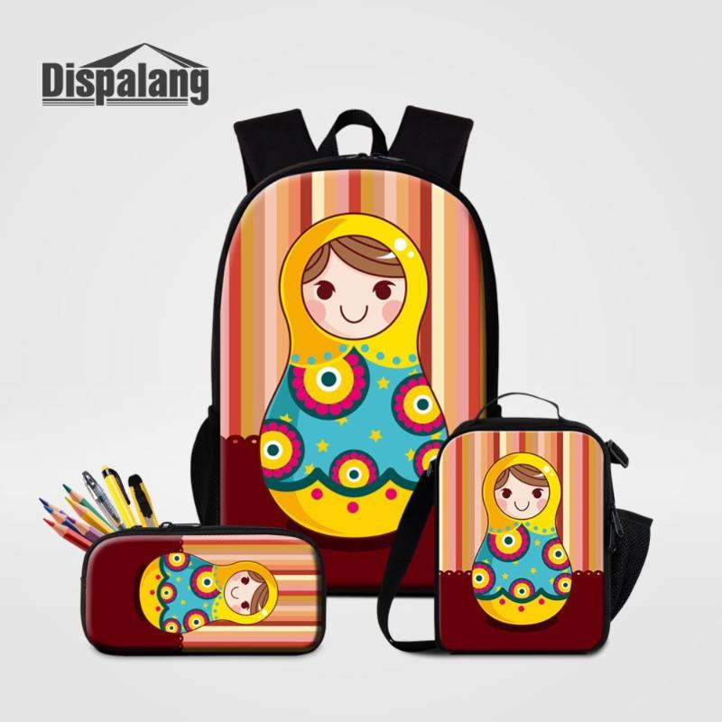 Рюкзак Dispalang модная школьная сумка Matryoshka кукла русские гнездовые куклы 3шт / набор 16 дюймов с карандашом