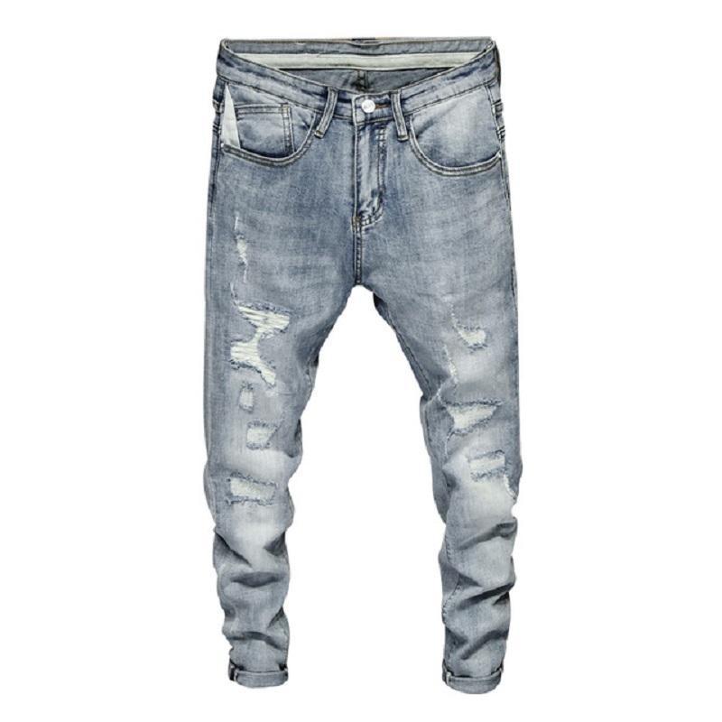 Jeans maschili da uomo strappato Skinny Blue Elasticity High Street Wear Light Hip Hop Brayed Homme Patchwork Biker Biker maschile Denim Pantaloni