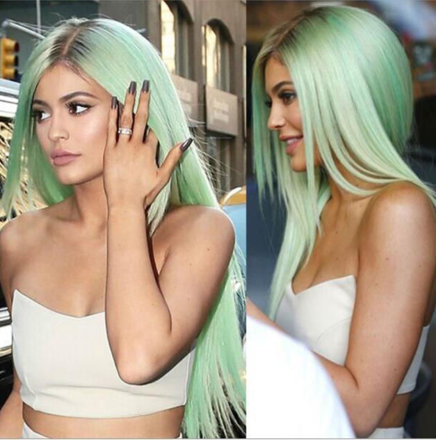 싼 ombre 녹색 스트레이트 긴 부드럽게 합성 레이스 프론트 가발 자연 검은 / 녹색 내열성 머리 가발 FZP161