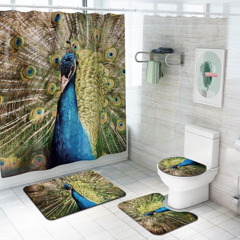 3D 인쇄 욕실 커튼 샤워 매트 4pcs 안티 슬립 워시 룸 카펫 화장실 커버 매트 발 깔개 빨 수있는 욕실 깔개 세트
