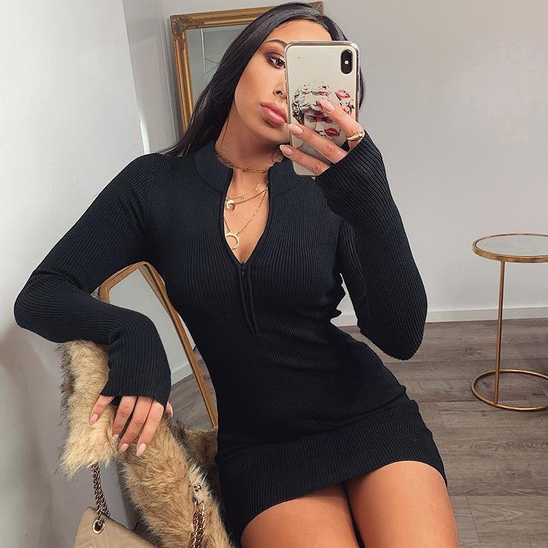 Neue sexy frauen mantel massiv reißverschluss longsleeve push up baumwolle mini bodycon gestrickte streetwear kleid weiblichi9gl