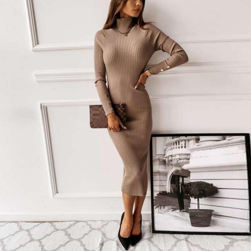 Vestidos casuales 2021 Moda elegante vestido mujer sexy invertido alto split bodycon maxi para invierno