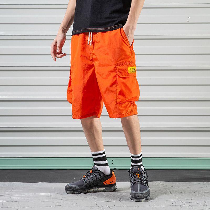 Yaz ince stil takım şort erkek besi büyük boy trend 5-çeyrek gündelik gevşek yağ plaj pantolon
