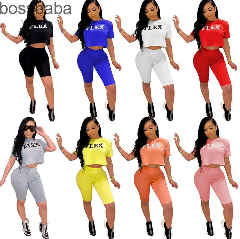 الصيف المرأة رياضية مصمم 2 قطعة ملابس السراويل إلكتروني الملابس المطبوعة عارضة قصيرة الأكمام تي شيرت مثير السراويل الدعاوى