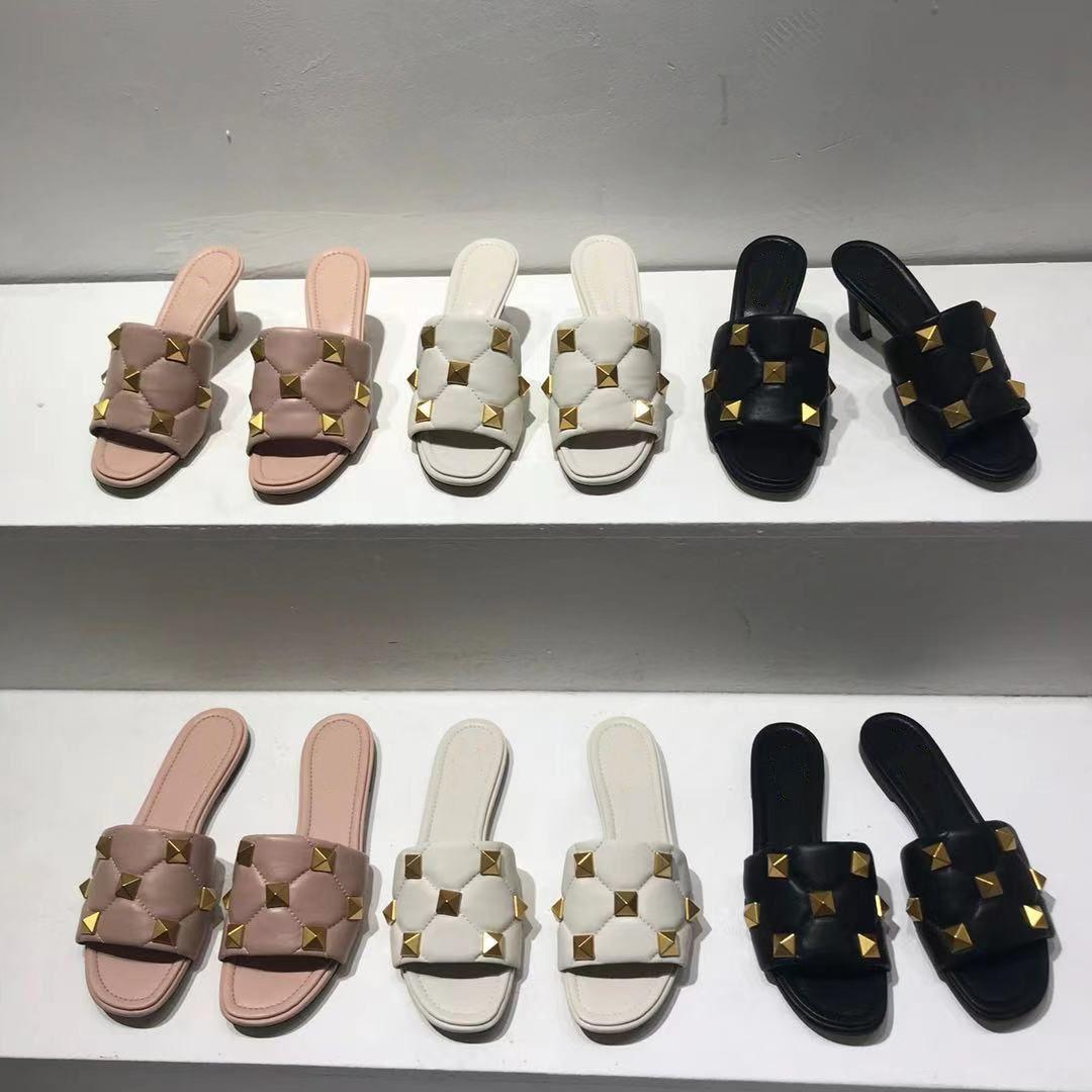Designer Roman Bolzen Slide Sandale Frauen 65mm High Heels Nappa Rivet Flache Hausschuhe Damen Hochzeit Sommerschuhe Große Größe mit Kiste 269