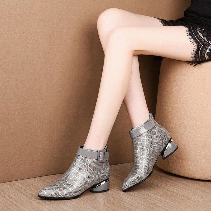 Bottines à talons basse pointues Bottines Femmes Snake Print Bottines Bottines Femmes Bottines courtes pour Mesdames 2019 Chaussures d'hiver Femme Y68G #