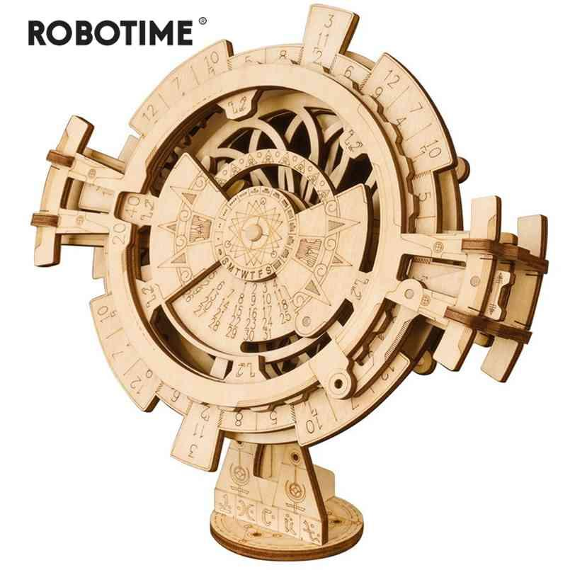Robotime Creative DIY Perpetual Calendar Wooden Model Building Kits Assembly Toy Gift for Children Adult Drop LK201 210911