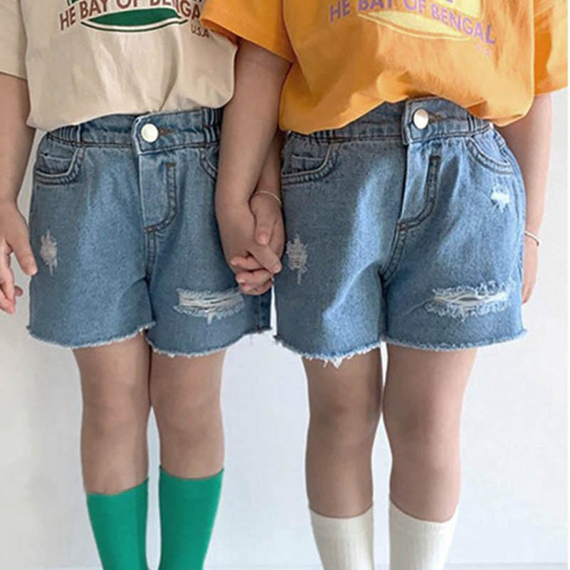 Çocuklar Şort Delik Denim Kız Kot Erkek Şort Yaz Kız Şort Çocuk Pantolon Bebek Giysileri Çocuk Giyim 1-7Y B4186