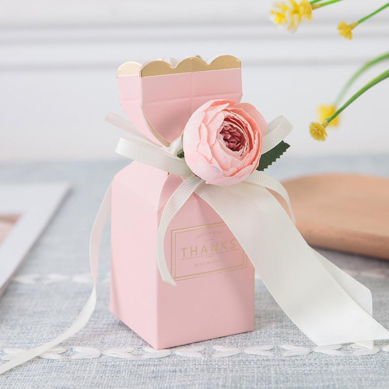 20-50-100PCs emballages de fleur Coffre-cadeau Boîte Vase Forme Drage Candy Box Boîte De Mariage Papier Cadeau Cadeau Emballage de chocolat Sacs d'enveloppe de chocolat