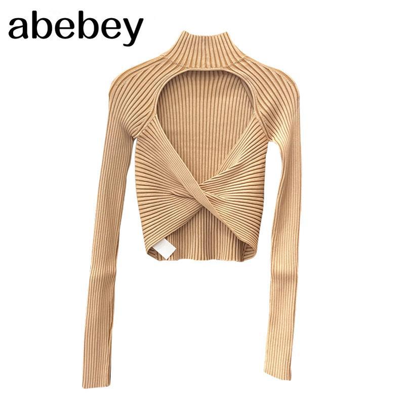 Полосатые спинки сексуальные короткие вершины для женщин водолазка с длинным рукавом Slim T рубашка женское осень мода новый стильный 210312