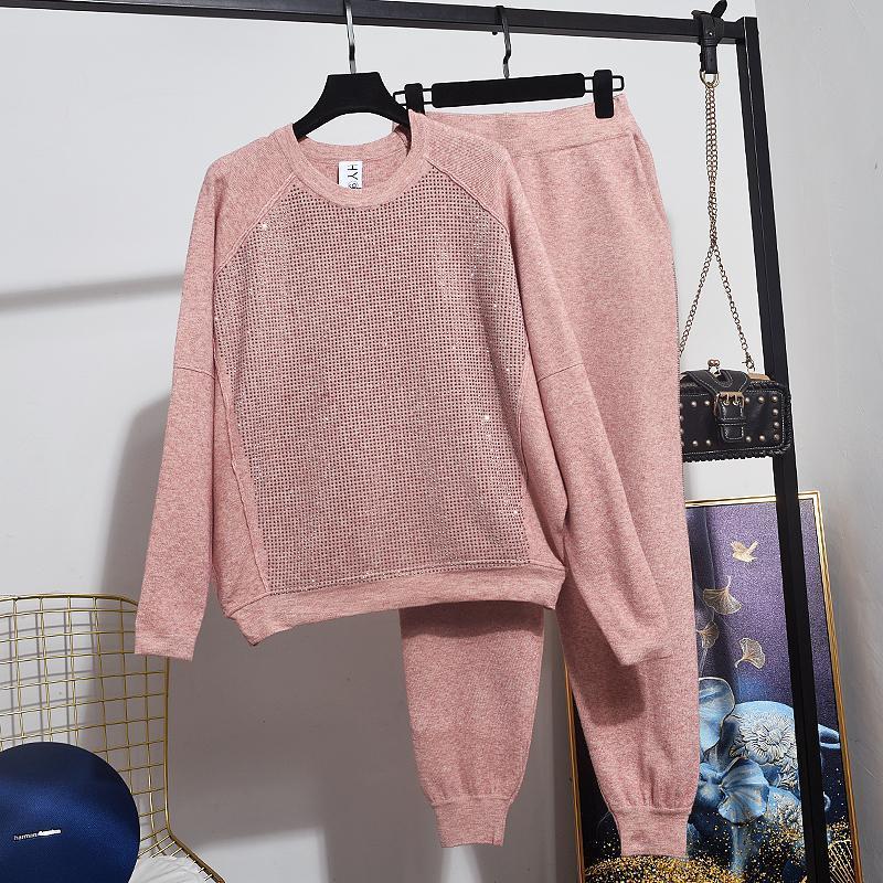 Pantalones de dos piezas de las mujeres Damas 2 unids de punto de punto suelto Juego de lápices largos Juego de lápices de colores Casual deportes de tejer traje de moda taladro negro rosa tracksui
