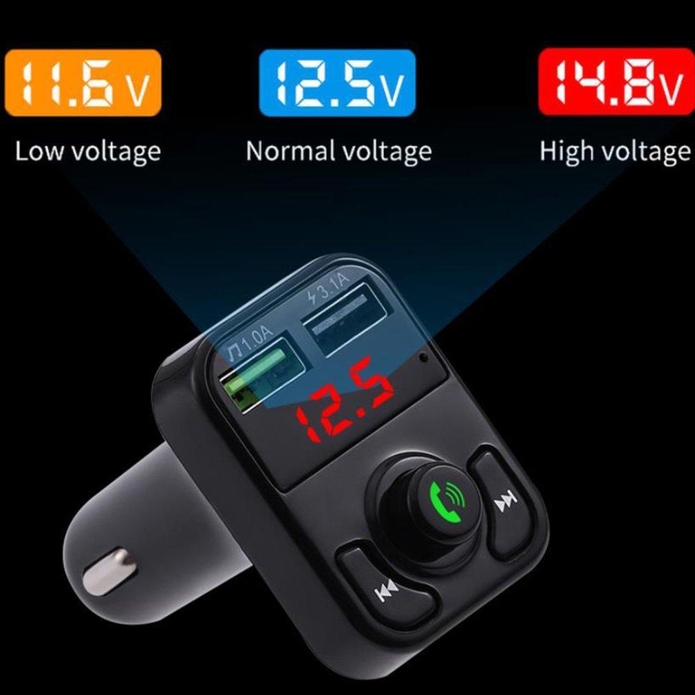 Bluetooth 5.0 Handsfree Araba FM Verici Kablosuz Ses Alıcısı Oto MP3 Çalar Çift USB Hızlı Şarj X3