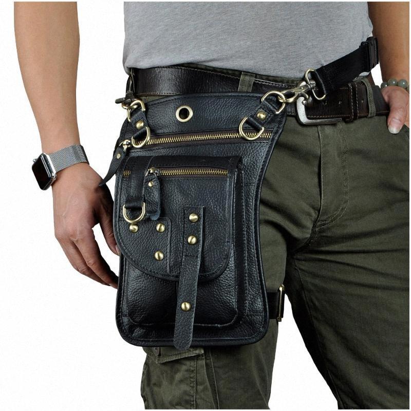 Couro Multifuncional Mens Travel Messenger Bag Messenger Bag gancho com cinto cintura gota perna esportes telefone móvel cintura bolsa kavu rop c7zy #