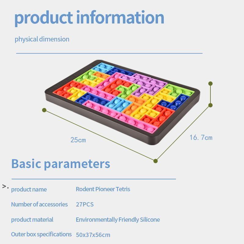 Fidget Toys Tetris Jigsaw Puzzle Décompression Reliver Stress Stress Anti-stress Bubble Sensoire pour soulager l'autisme BWD9628