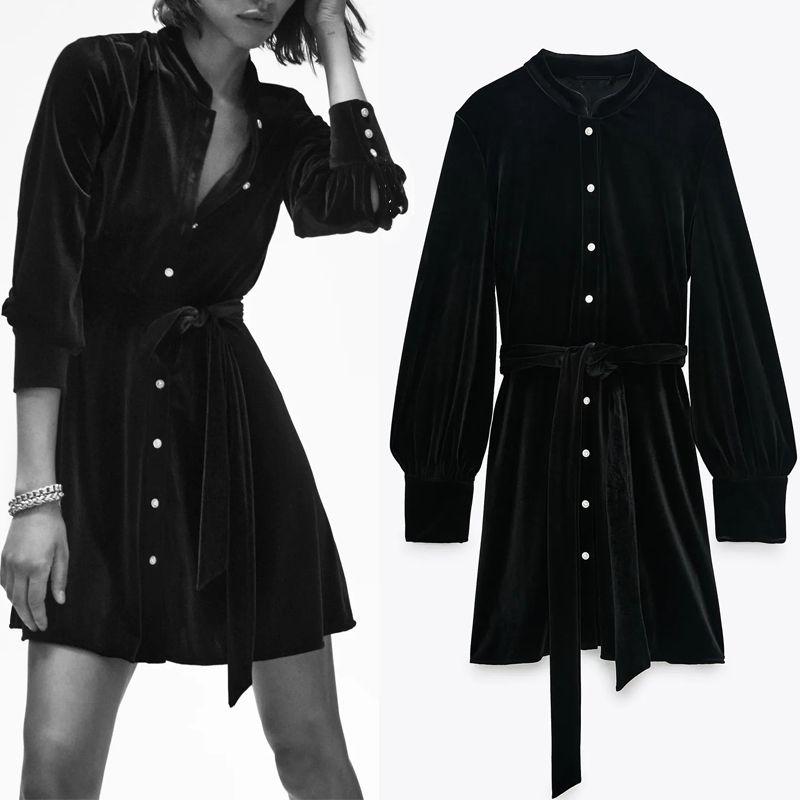Za осень черное бархатное мини платье женщины винтажные французские элегантные длинные рукава платье женщины мода галстук ремень женские платья 210305