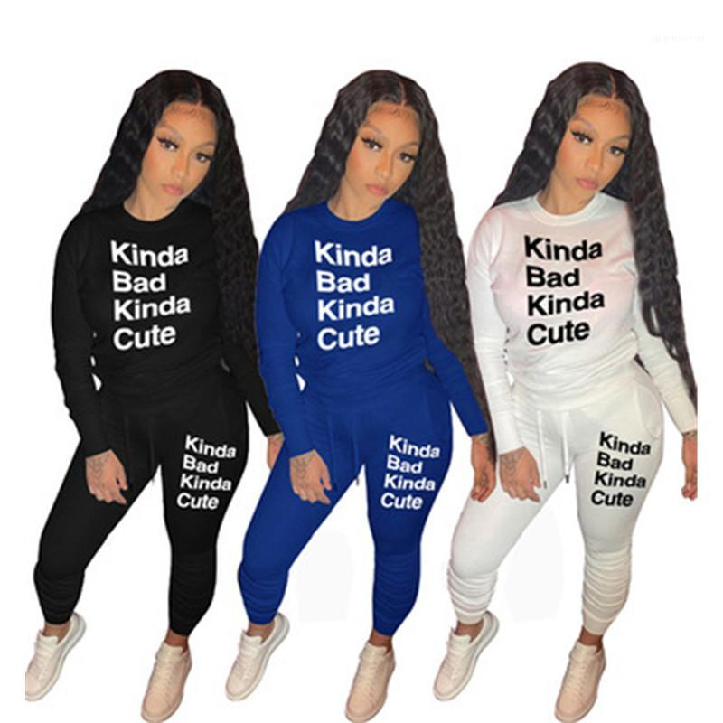 Female Autumn Casual Loose Tracksuits Ladies Solid Color Letter Sets Fashion Trend Long Sleeve Rond Neck Sweatshirt Trousers Suits Designer