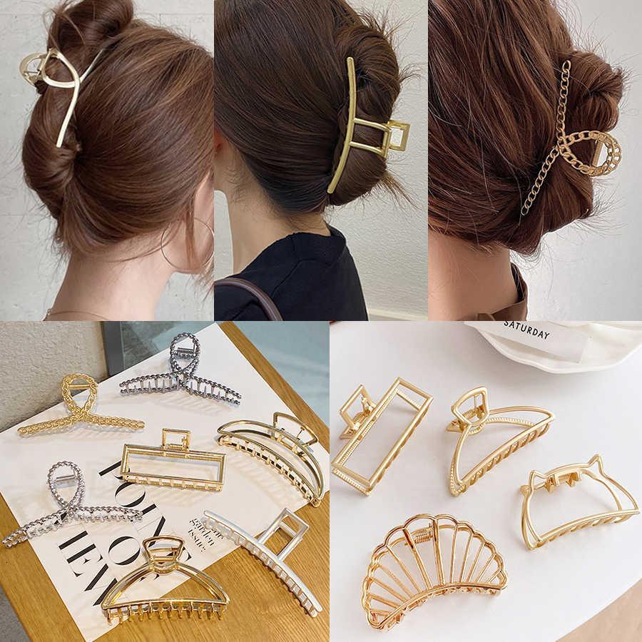 2021 Métaux coréens griffe géométrique pour femmes accessoires de cheveux élégants Cross Krab Bad Clip Mode fille