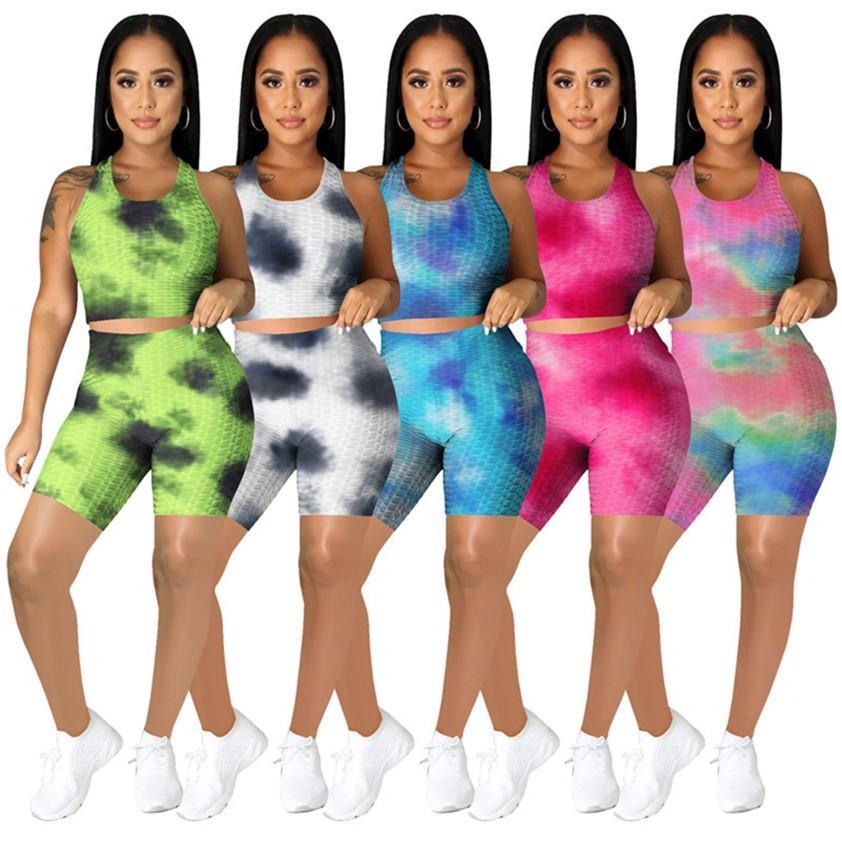 Tie-tinte Two Piece Women Joggers Abbigliamento estivo Plus Size 2XL TrackSuits Yoga Sportswear Tank Top + Shorts Sweatsuits a colori solidi DHL 4627