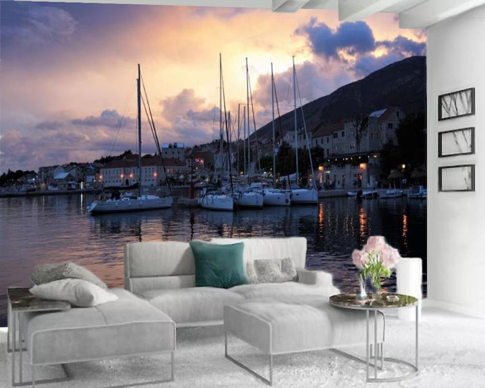 3D duvar kağıdı yatak odası için güzel sahil şehir manzara 3d duvar kağıdı romantik manzara dekoratif ipek 3d duvar kağıdı