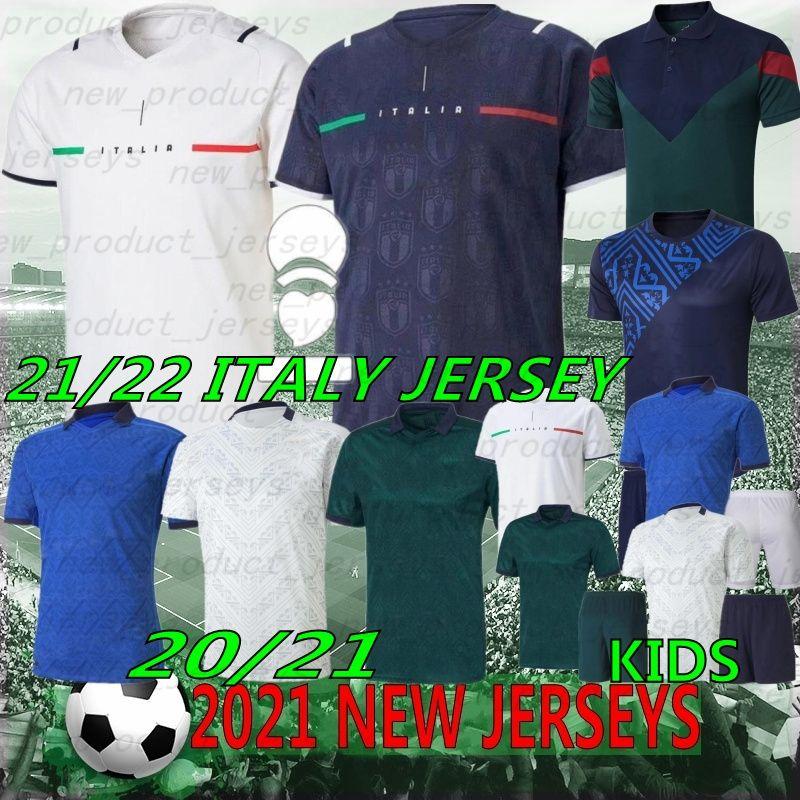 Tailandês 21/22 Itália Copa Europeia Verratti Jorginho Imóvel Jersey Jersey Bastoni Chiellini Bonucci Insigne Bernardeschi 2021 Futebol Camisas Men + Kit Kit uniformes