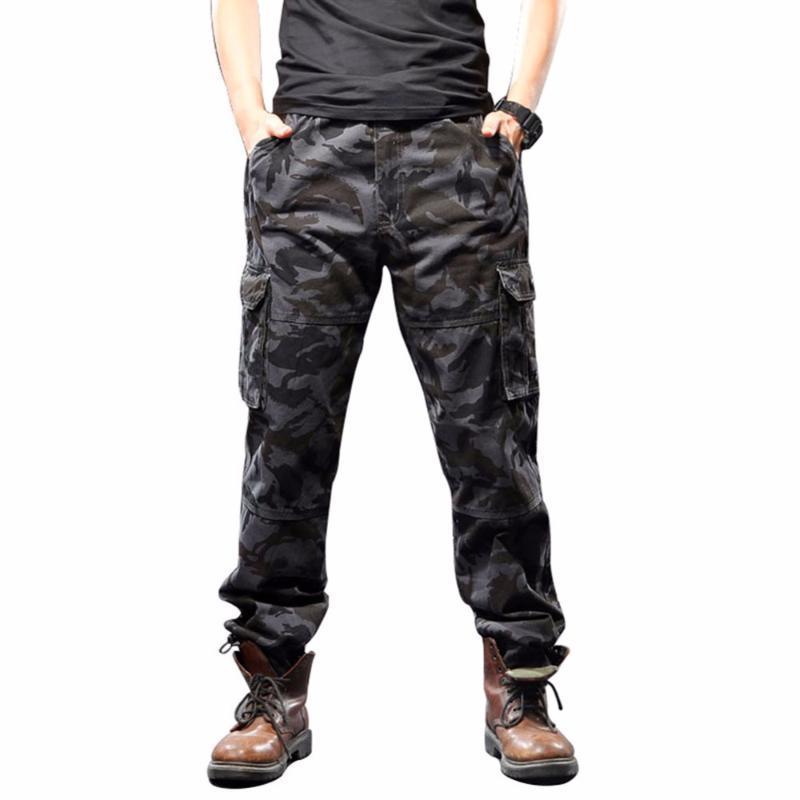 Pantaloni da uomo Idopy Mens Camouflage Casual Allentati Misurati Militare Multi Tactical Multi-Pocket Lavoro Moto Cargo Twill per maschio Plus Size