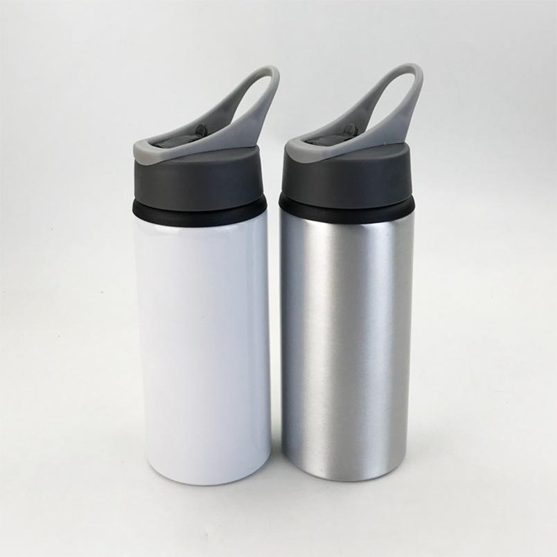 Sublimation Aluminiumrohstoffe Wasserflaschen 600ml Hitzebeständige Wasserkocher Sport White Cover Cup Große Mund Saugdüse Meer Versand WWA173