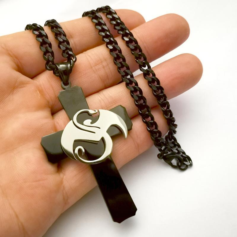 Grande Strange Music Dragon Charms Acciaio inossidabile Black Cross Pendant Necklace W / 5mm 24 'Curb Catena ICP Jugallo