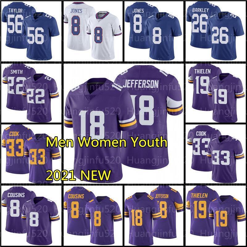 "18 Justin Jefferson Minnesota ""Vikings"" Jersey di calcio 33 Dalvin Cook 19 Adam Thielen 22 Harrison Smith 26 Saquish Barkley Kenny Golladay 89 Kadarius Toney"