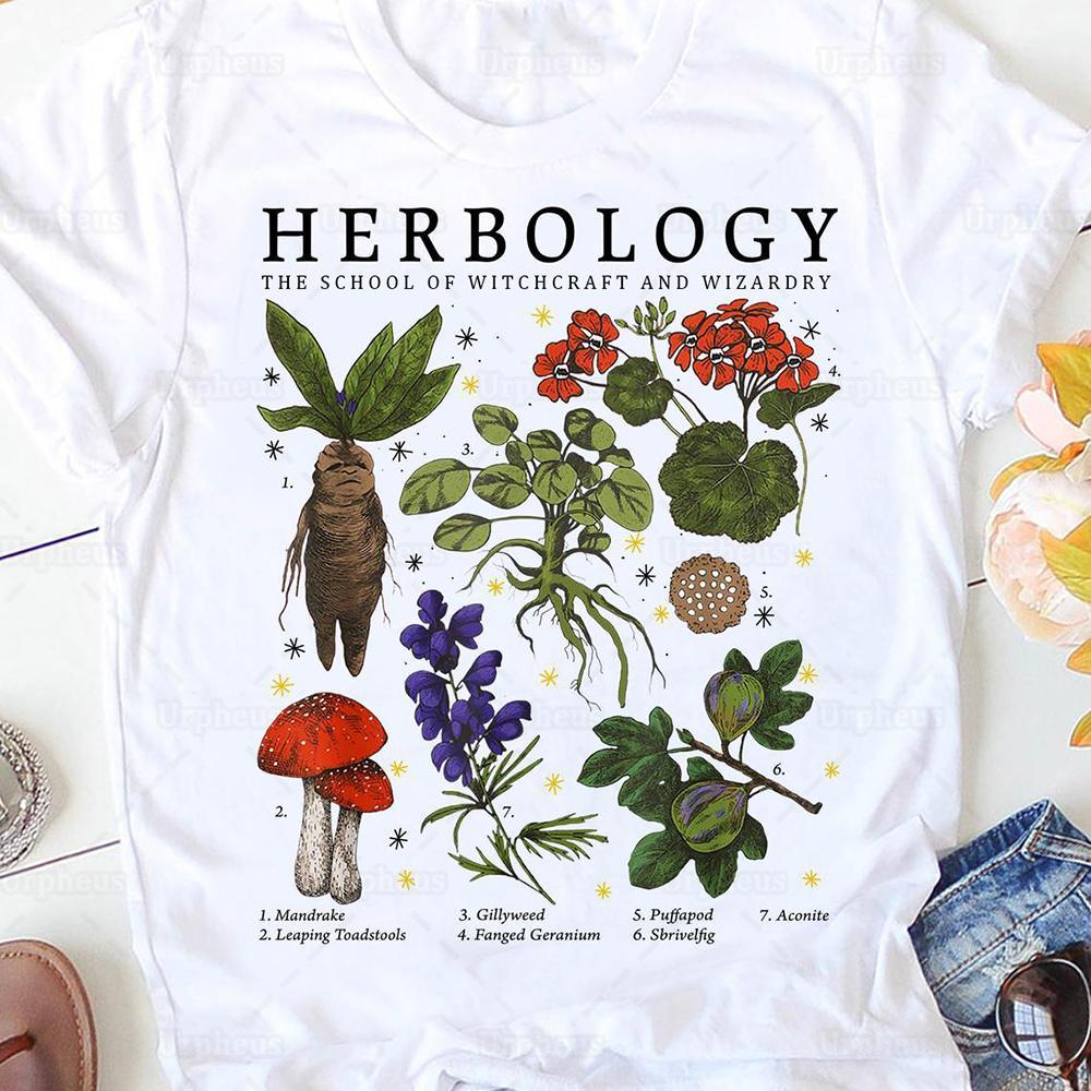 Le piante di erboologia t shirt la scuola di stregoneria e wizardry novità design camicie di cotone 210226