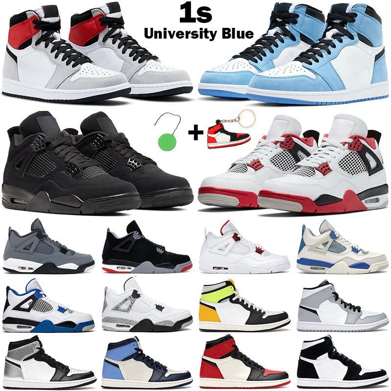 2021 Homens Mulheres Basquetebol Sapatos Jumpman 1s 1 Alta OG Universidade Azul Torça 4S Fogo Vermelho Vermelho Gato Branco Cimento Mens Trainer Sneakers