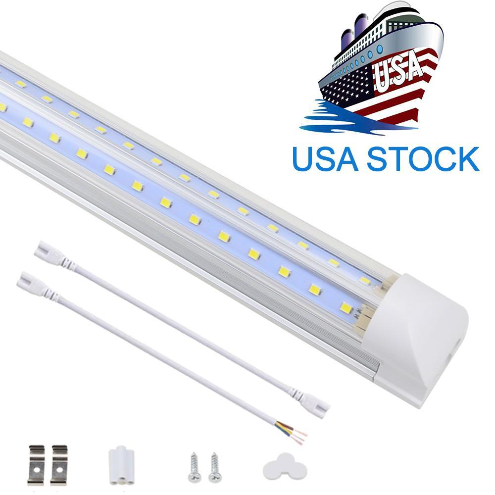 V 모양의 통합 LED 튜브 라이트 4ft 5ft 6ft 8ft LED 튜브 T8 72W 100W 양면 전구 가게 가벼운 쿨러 도어 빛